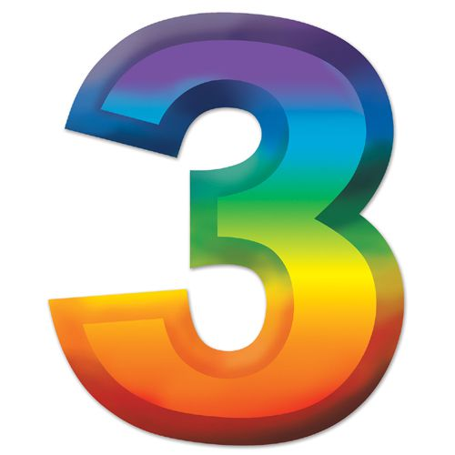 "Multicoloured Plastic 3D number ""3"" - 11"""