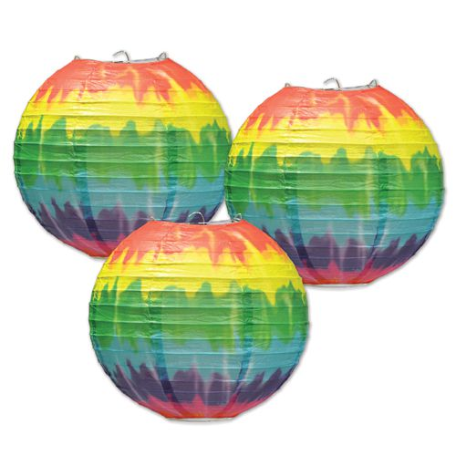 "Tie-Dyed Paper Lanterns - 9.5"" - Pack of 3"