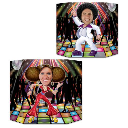 Disco Couple Stand-In Photo Prop - Reversible 2 Designs - 94cm