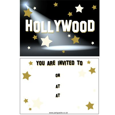 Hollywood Invites (Pack Of 8)