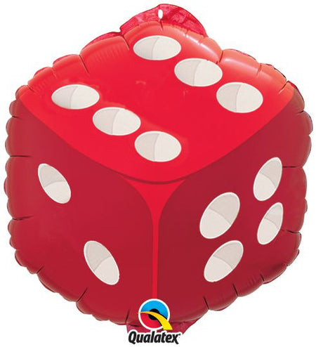 Red Dice Shaped Foil Balloon 18