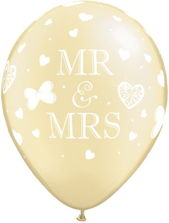 "Mr & Mrs Ivory Latex Balloons - 11"" - Pack of 10"
