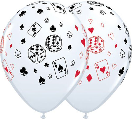 Cards Dice Latex Balloons 11 Pack Of 10