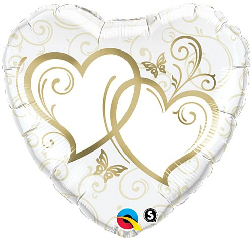 Entwined Hearts Gold Foil Balloon - 18""