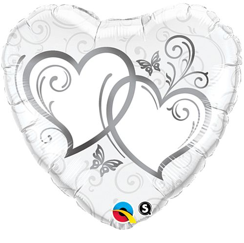 Entwined Hearts Silver Foil Balloon - 18""