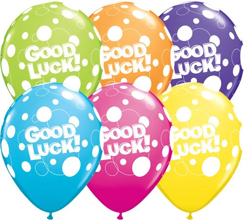 "Good Luck Dots Latex Balloons - Assorted Colours - 11"" - Pack of 10"
