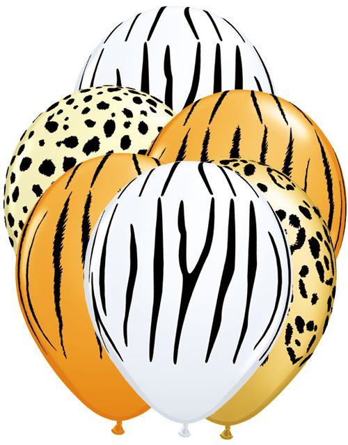 "Safari Print, Assorted Colour Latex Balloons - 11"" - Pack of 10"