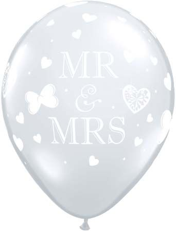 "Mr and Mrs, Diamond Clear Latex Balloons - 11"" - Pack of 10"