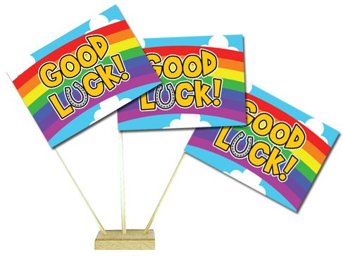 "Good Luck Table Flags 6"" on 10"" Pole"