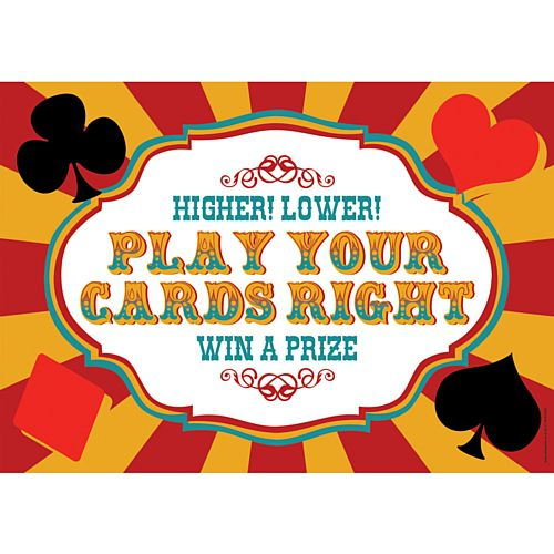Fundraising Play Your Cards Right Sign - A3