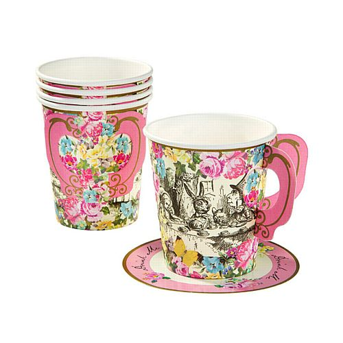 Truly Alice Whimsical Cups and Saucers - Pack of 12