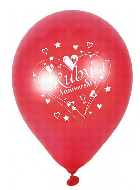 Ruby Anniversary Pearlescent Latex Balloons 2 Sided Print 12 Pack Of 6