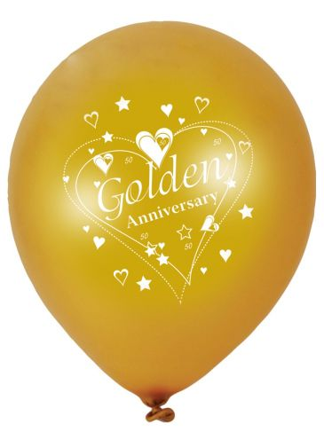 Click to view product details and reviews for Gold Anniversary Pearlescent Latex Balloons 2 Sided Print 12 Pack Of 6.