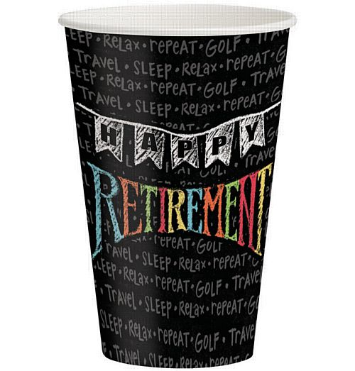 Retirement Chalk Cups - 360ml - Pack of 8