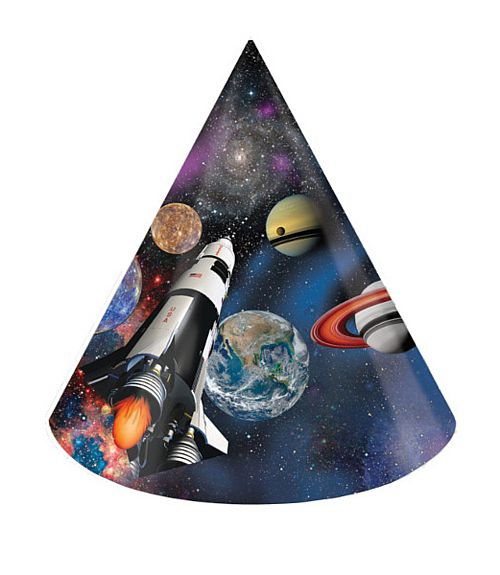 Space Blast Cone Hats - Pack Of 8