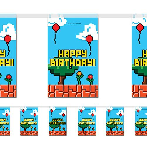 Video Game Happy Birthday Small Flag Interior Bunting - 2.4m