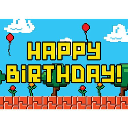 Video Game Happy Birthday Poster A3