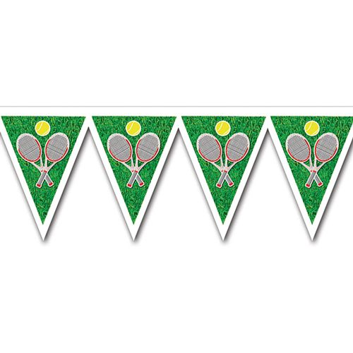 Tennis Plastic Bunting - All-Weather 12 Pennants - 2.24m