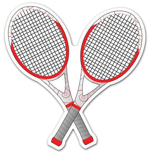 Tennis Racquets Vinyl Wall Decoration - 13cm