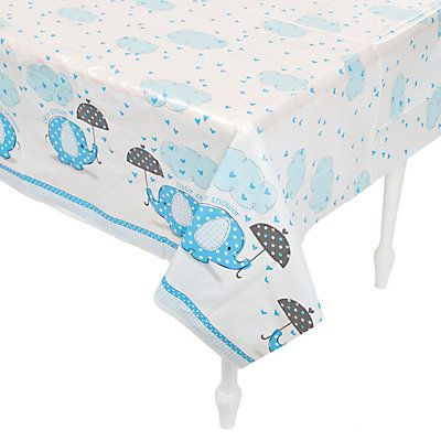 Umbrellaphants Blue Plastic Tablecloth - 210cm