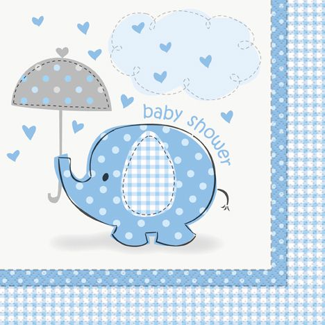 Umbrellaphants Blue Luncheon Napkins - 33cm - Pack of 16