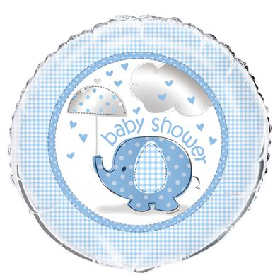 Umbrellaphants Blue Baby Shower Foil Balloon - 18""