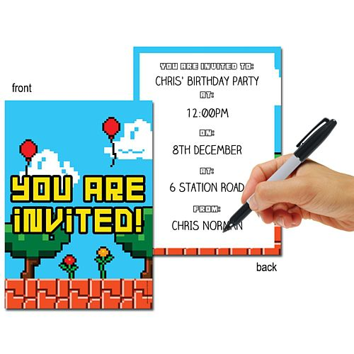 Video Game Themed Invites - Pack of 8