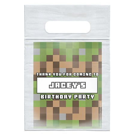 Personalised Pixel Blocks Card Insert With Sealed Party Bag - Each