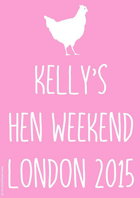 Light Pink Hen Party Personalised Poster- A3