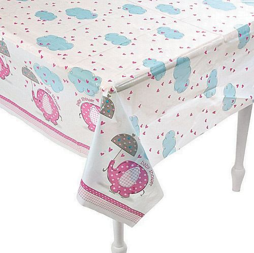 Umbrellaphants Pink Plastic Tablecloth - 214cm