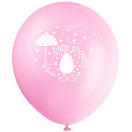 "Umbrellaphants Pink Baby Shower Balloons - 12"" - Pack of 8"