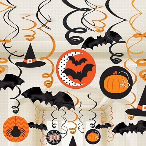 Halloween Swirls Decorations - Pack of 30