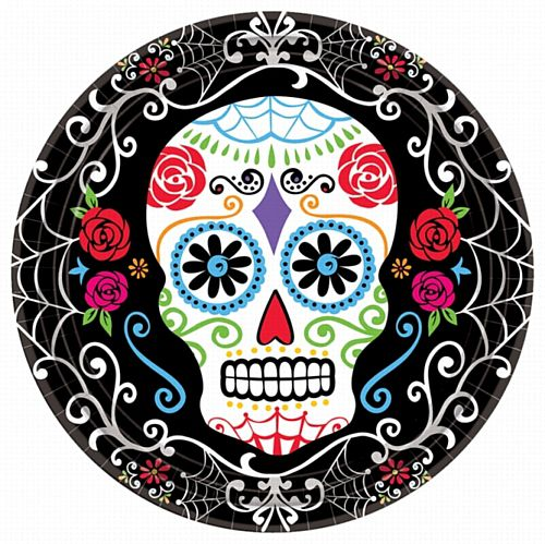Day of the Dead Paper Plates - 23cm - Pack of 18