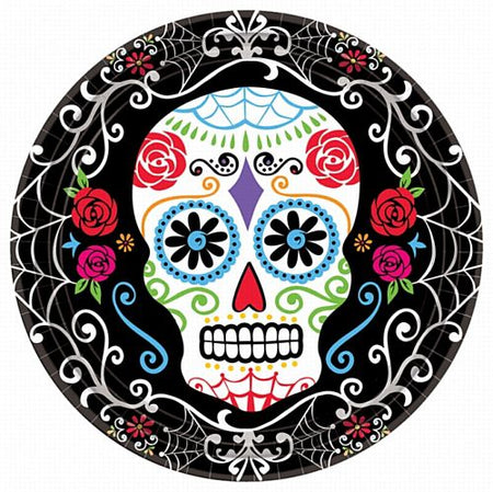Click to view product details and reviews for Day Of The Dead Paper Plates 23cm Pack Of 18.