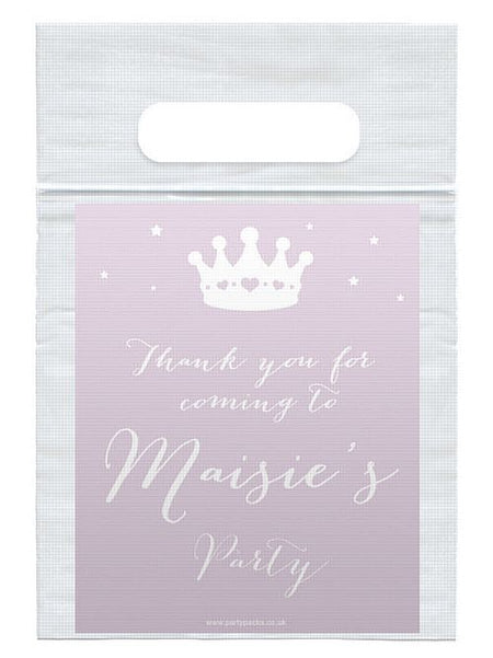 Personalised Princess Party Card Insert With Sealed Party Bag - Each
