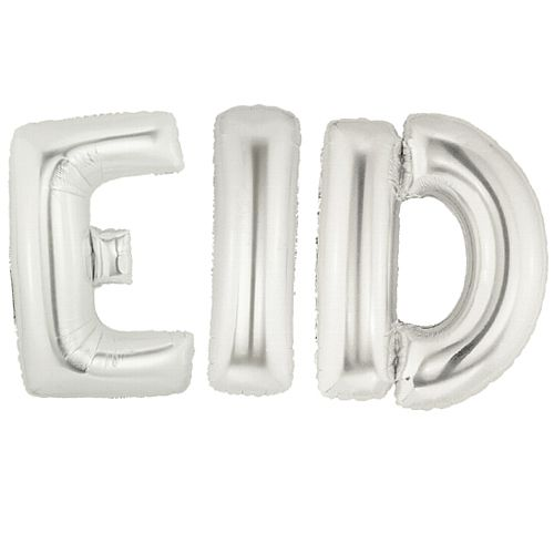 Silver Foil Balloon 'Eid' - Pack of 3 - 86.4cm