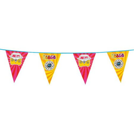 Pink and Yellow 60s Hippie Plastic Bunting - 6m