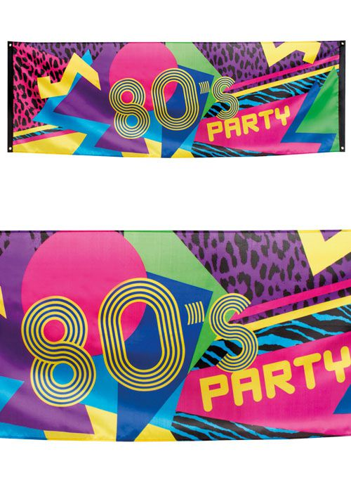 80s Party Fabric Banner - 2.2m