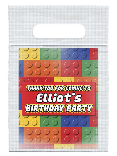 Personalised Building Blocks Card Insert With Sealed Party Bag - Each