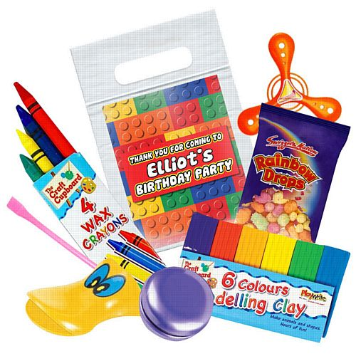 Building Blocks Personalised Clear Sealable Party Bag - With Contents