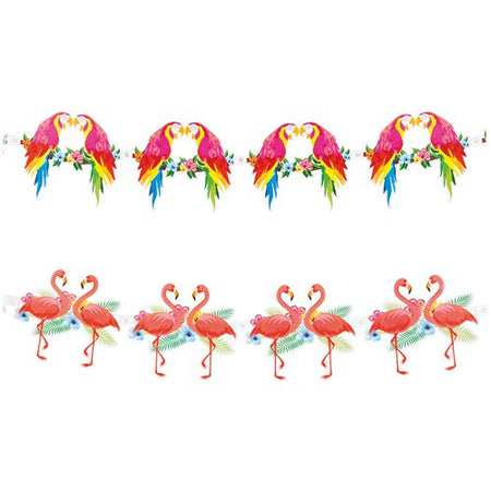 Parrot and Flamingo Paper Garland - 2 Assorted Design - 3m - Each