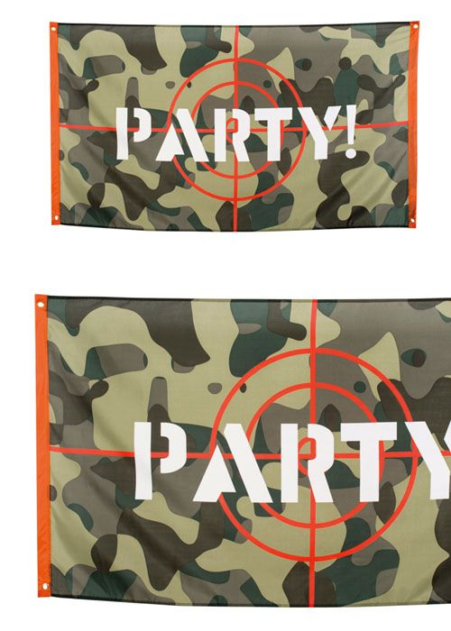 Camouflage 'Party!' Cloth Flag - 1.5m