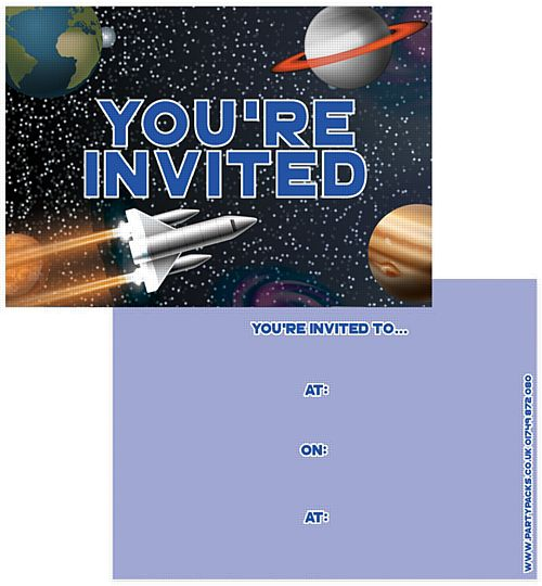 Space Party Initations - Pack of 8