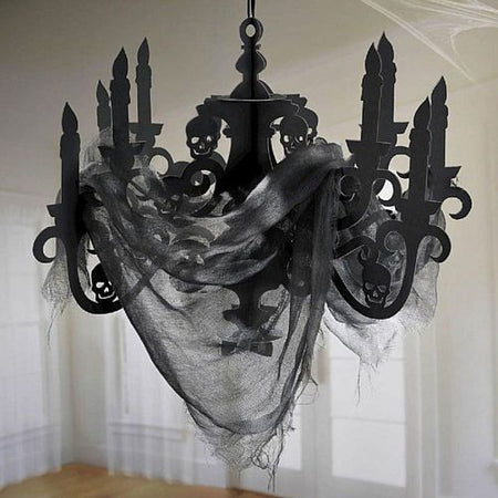 Click to view product details and reviews for Black Halloween Card Chandelier Decoration With Spooky Fabric Gauze 58cm.