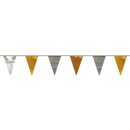 Metallic Gold and Silver Bunting - 28 Flags - 12m