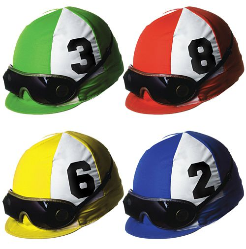 Jockey Helmet Cutouts - Assorted Designs - 35.6cm - Pack of 4