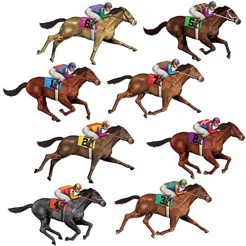 Race Horse Wall Decorations - Assorted Designs - 73.7cm - Pack of 8