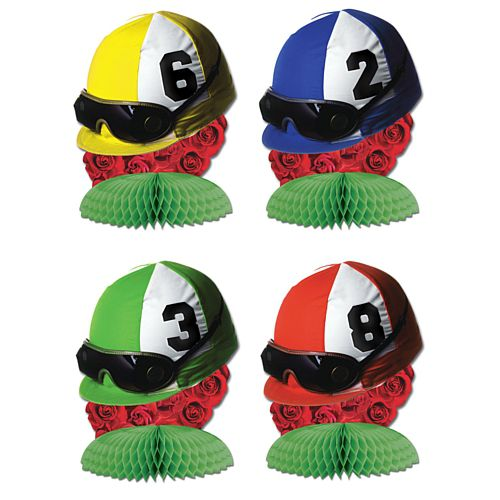 Jockey Helmet Centrepieces - Assorted Designs - 11.4cm - Pack of 4