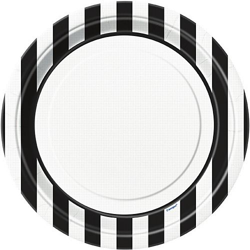 Black Stripe Plates - 22.9cm - Pack of 8