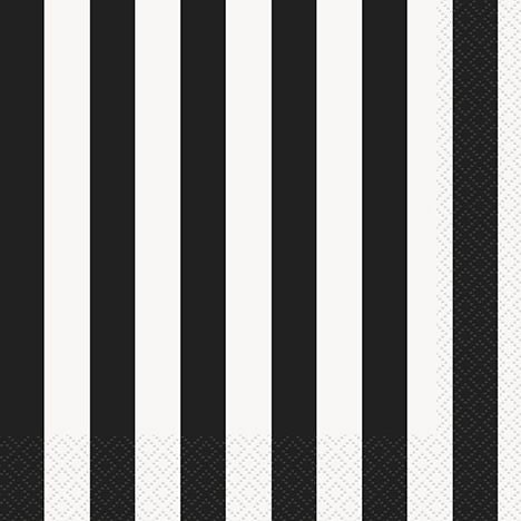 Black Stripe Lunch Napkins - Pack of 16